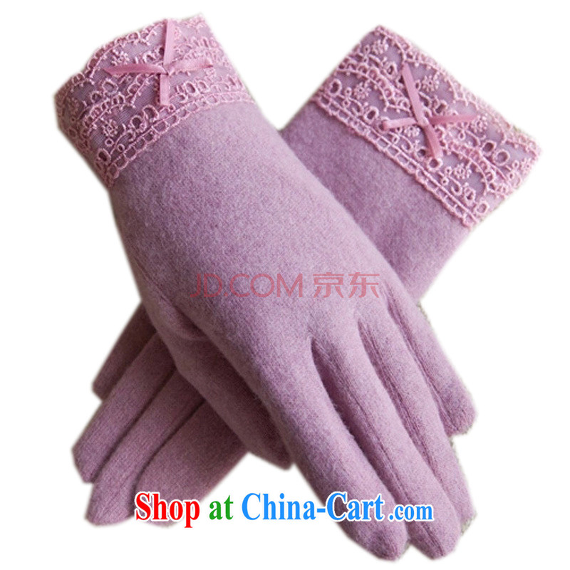 Antelope Good Morning autumn and winter new lace bow-tie double-decker the lint-free cloth thick winter warm, wool gloves small Park Heung-trail - Toner purple