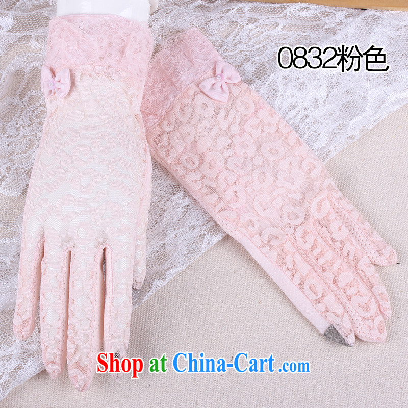 100, The Leopard lace touch sunscreen gloves touch screen female summer season driving ultra-thin short Taxi slip 0832 pink