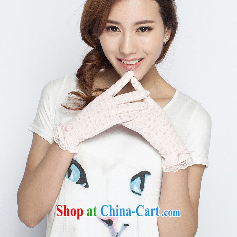 100 OSCE, cotton, sunscreen and UV light gloves Korean Spring Summer car rides short thin anti-slip 0301 pink