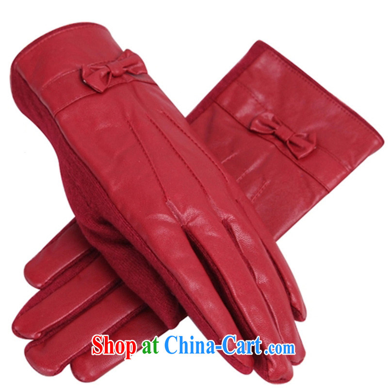 Antelope Good Morning 2014 autumn and winter, new graphics Ms. thin PU leather the lint-free cloth thick warm wool gloves ST 088 smile - Red