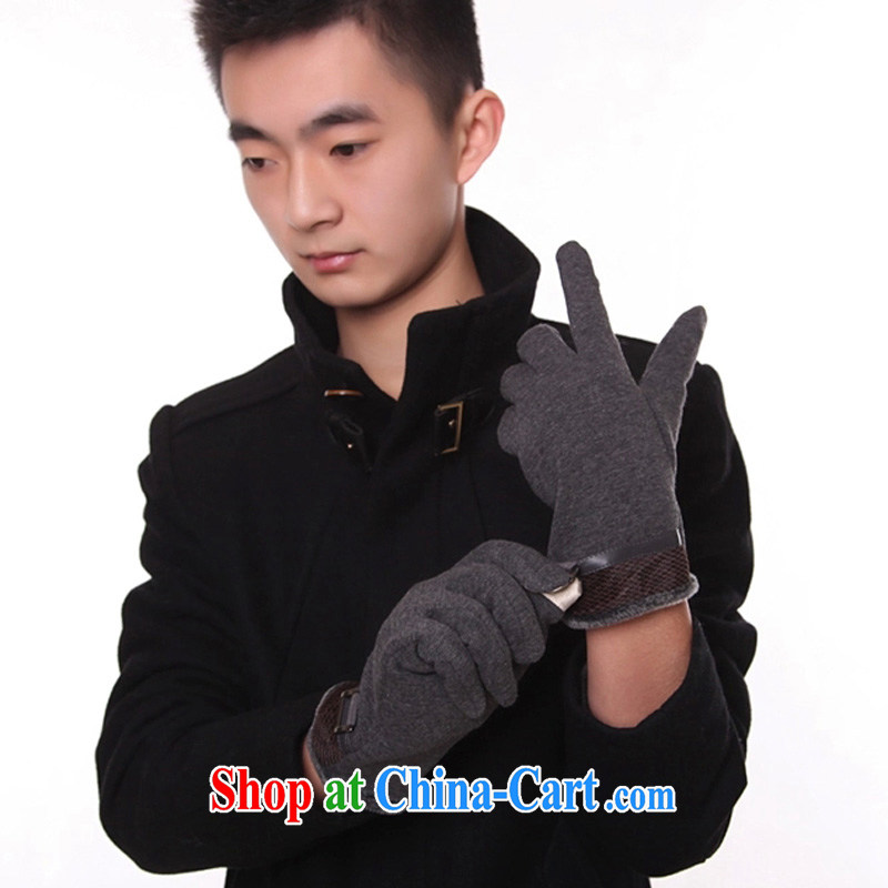 2014 fall and winter new stylish men, lint-free cloth thicken the touch screen is a winter warm gloves ST 093 fashionable Milan - gray