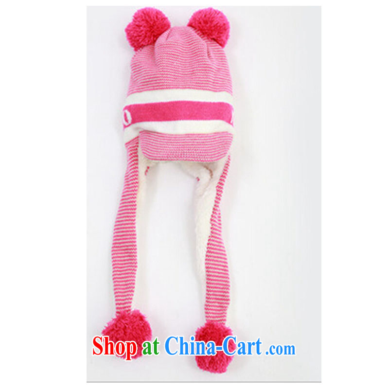 The Korean economy Maria Sharapova cute children's ear hat warm men, women and children fall and winter winter hat infant the lint-free cloth hat Lei Feng hat pink 52 - 56 (2 - 12 years of age)