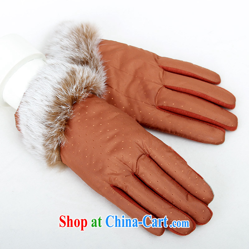 100 OSCE, Ms. noble touch screen glove rabbit hair female winter warm autumn driving gloves short Korean layout A 5099 orange.