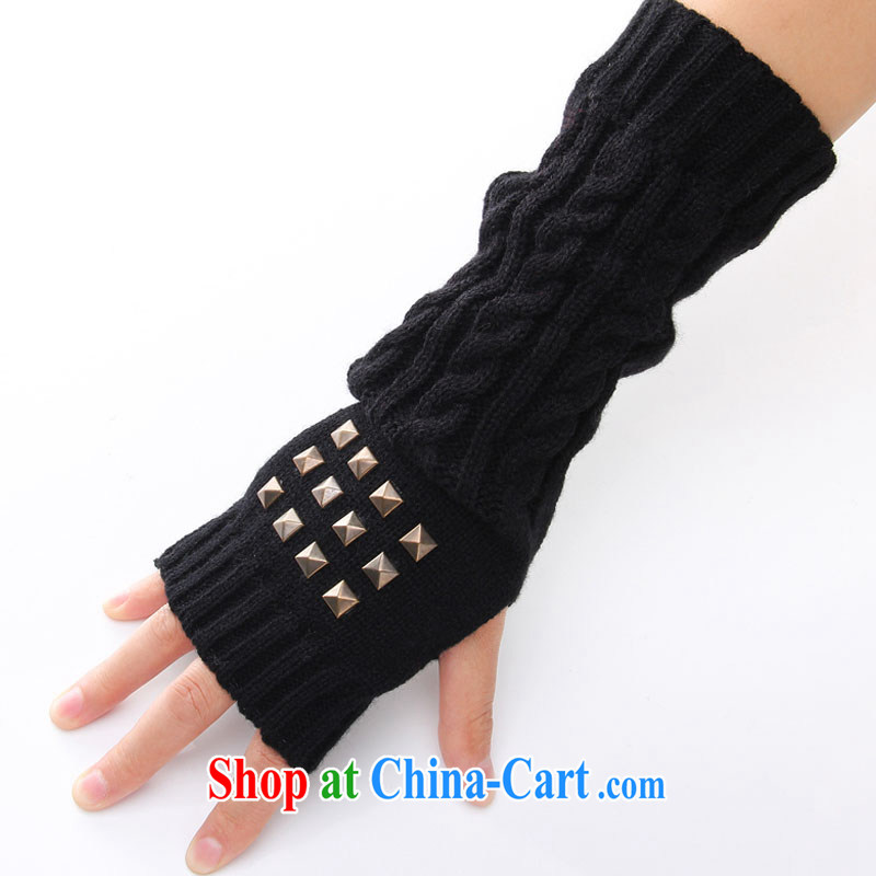 Wind shadow tap dance 2014 autumn and winter, gloves for couples who recommended strength rivets small twist half the knitted gloves arm Terrace Suite the knitting gloves black