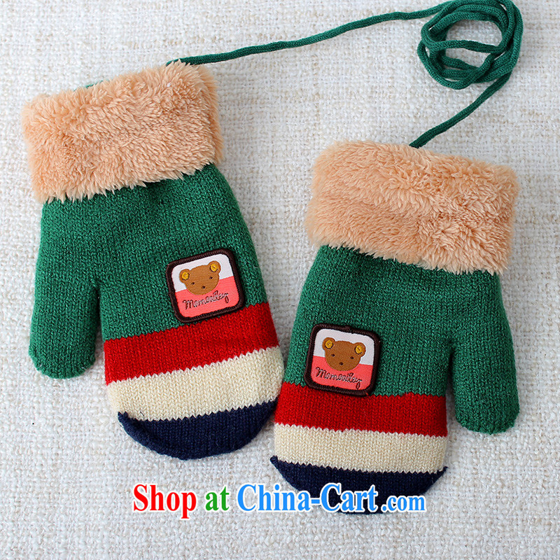 100, Euro 4 - 7 years old baby knitting gloves warm thick winter is also knitting, children-lined mittens C 1561 green