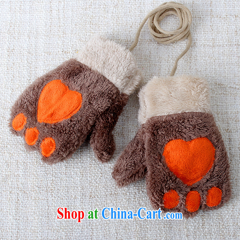 100, Euro 3 - 6 year-old child and infant care baby gloves knitting yarn, both men and women a cartoon warm autumn and winter 1315 C Brown