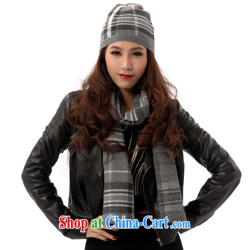 Kai, Mr. cool cashmere with golden silk tartan scarf hat 2-Piece HWC 050 light gray