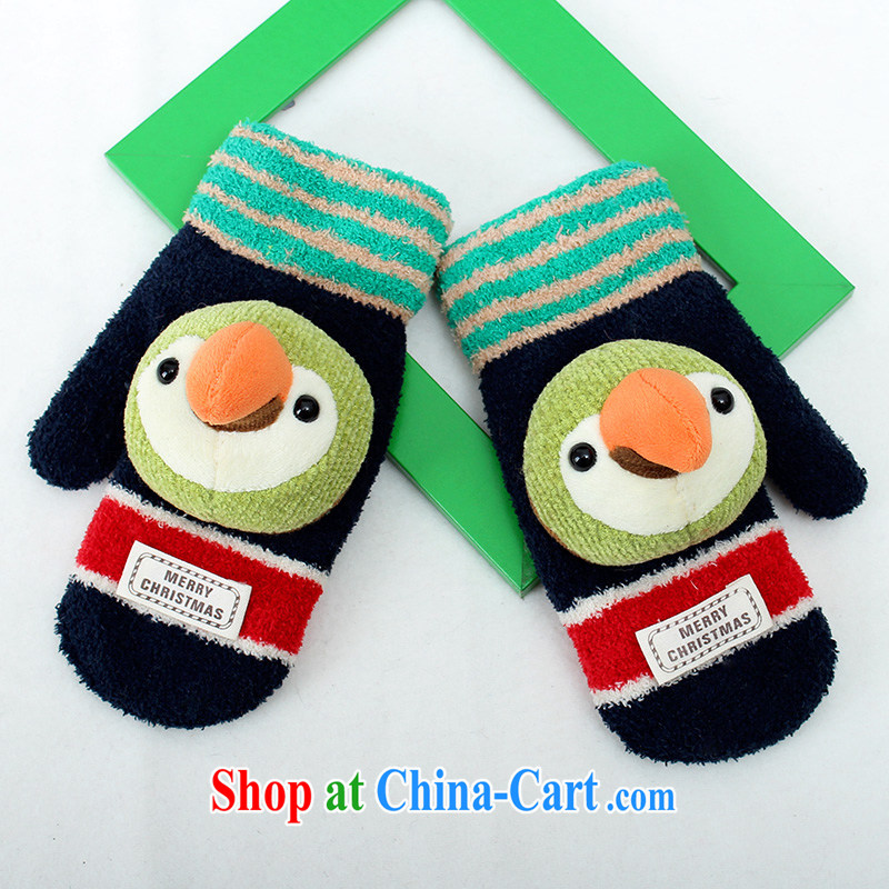 100, The parrot 5 - 10-year-old children babies cartoon gloves full finger knitting warm thick winter knitting C 1550 Tibetan cyan