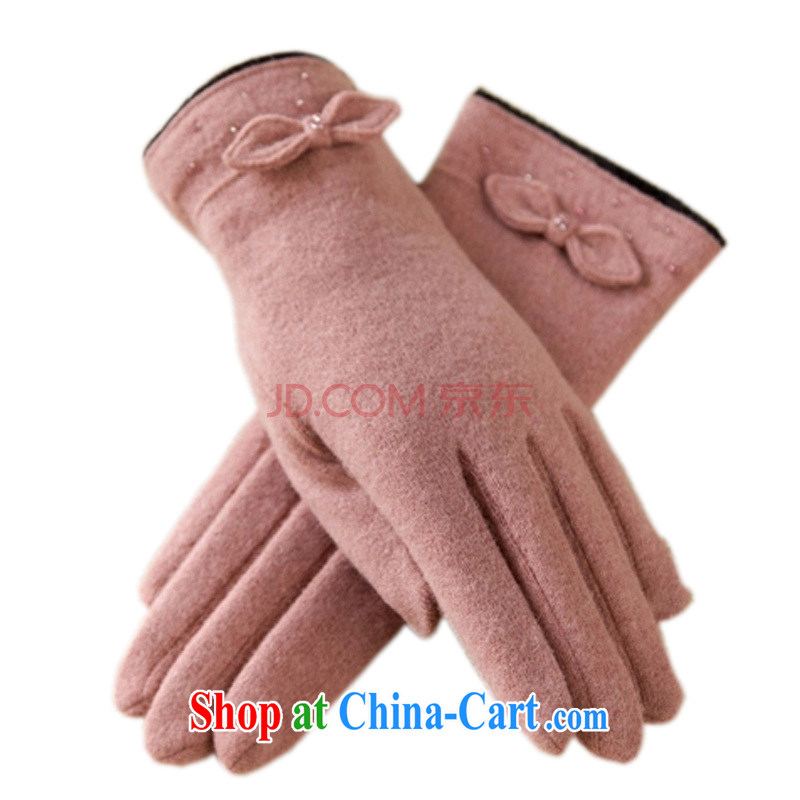 Antelope Good Morning autumn and winter elegant nails Pearl butterfly knot double the lint-free cloth, thick wool-mittens ST 149 will warm-pink