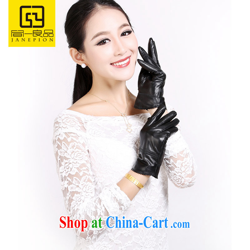 JANEPION/Jane a good woman, stylish leather gloves warm winter, sheepskin gloves and lint-free cloth thick L code STW 06 black volume.