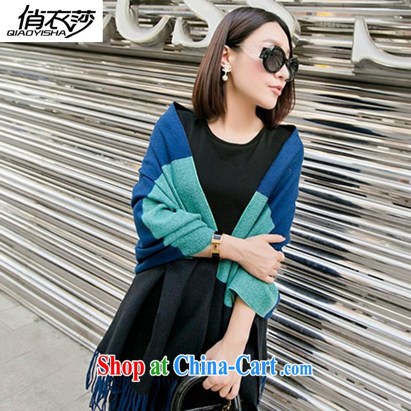 for Elizabeth's clothing fall/winter 3-Color stitching, silk scarf shawl 100 ground warm scarf emulation cashmere QA 631 holes of estimated