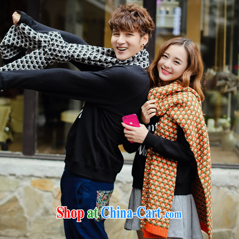 City front-end 2014 new winter clothes long scarf spell color knitting thick long couples Korean scarf orange