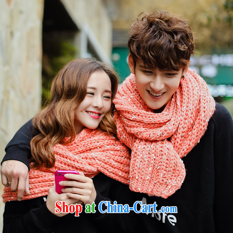 City front-end 2014 new winter clothes long scarf color point twist knitting thick long couples Korean scarf (couples, to sell) pink
