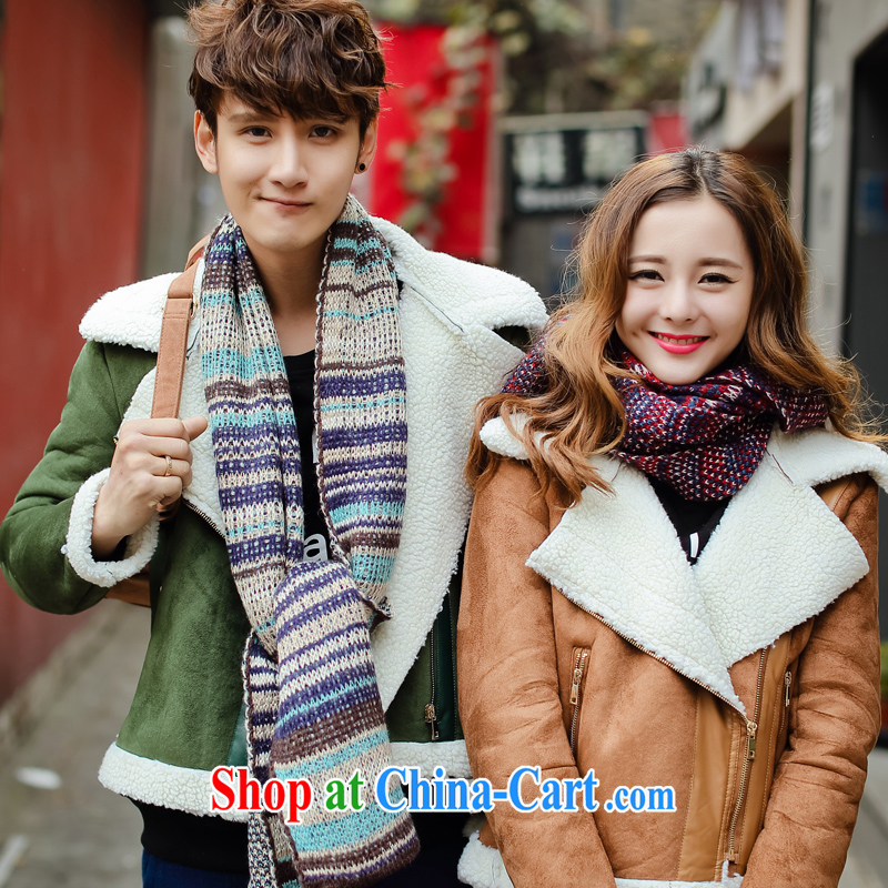 City front-end 2014 new winter clothes long scarves Ethnic Wind two-sided thick long couples Korean scarf blue