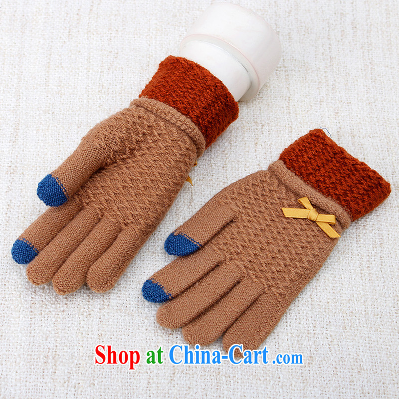 100, the lovely knitting gloves touch screen women fall warm winter students knitted gloves touch touch A brown 5205