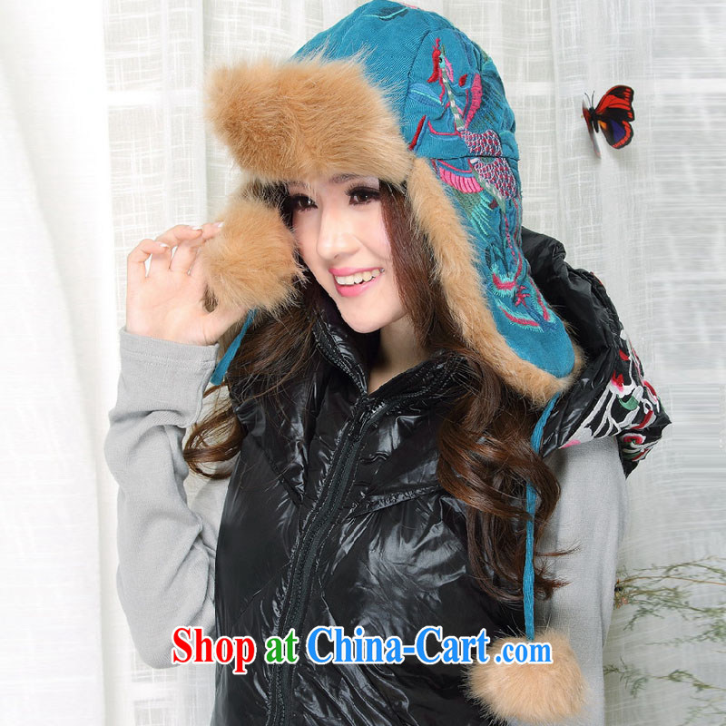 o, winter 2015 new jewelry corduroy embroidered ear hair, hat Peacock Blue all code
