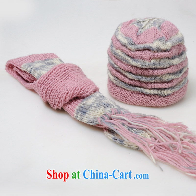 Princess rabbit hat wool hat scarf two-piece with autumn and winter hat, Korean version of the new, female hat winter cute and stylish warm beanies light pink, Princess and, on-line shopping