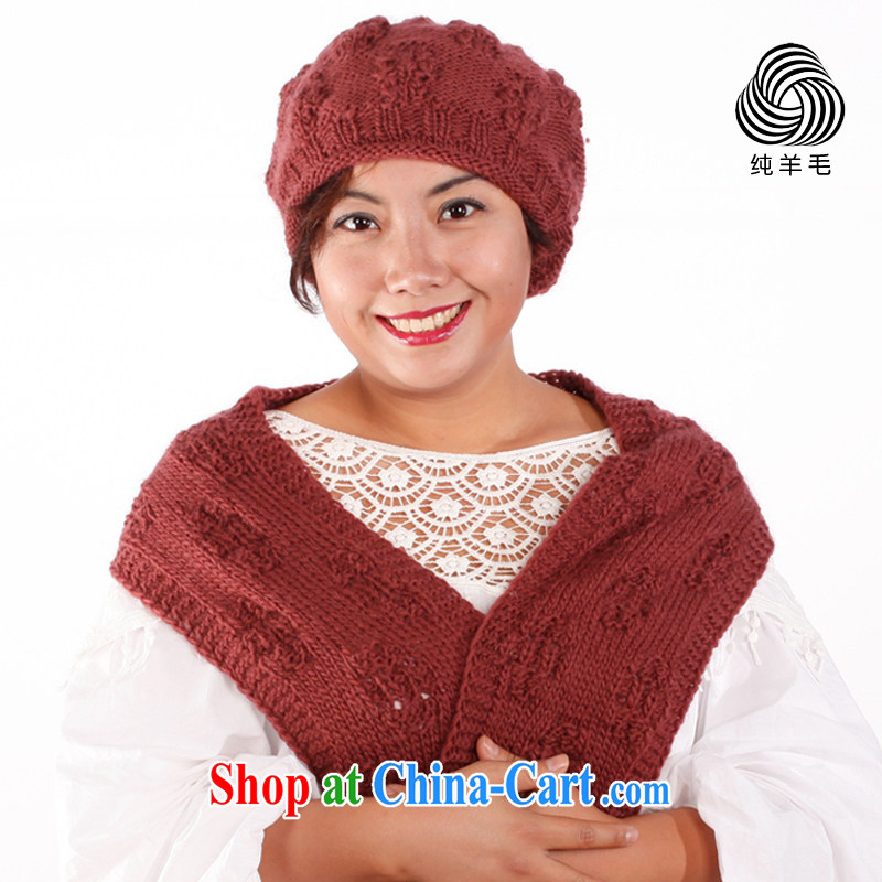 Winter pure wool Hand Hooked warm hat scarf two-piece wool buds of two kits ochre stone colored stretch cap port 54 - 60 CM