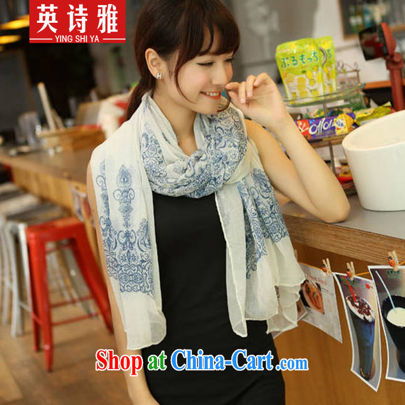 Poetry, Jacob 2014 new Korean girl retro blue and white porcelain snow spinning scarf scarves 0315 blue-and-white
