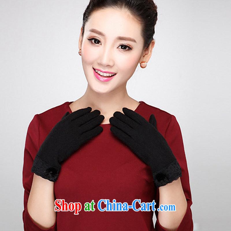 Short fleece gloves lace port in winter, Ms. Korean fashion warm driving lovely marten hairs black.