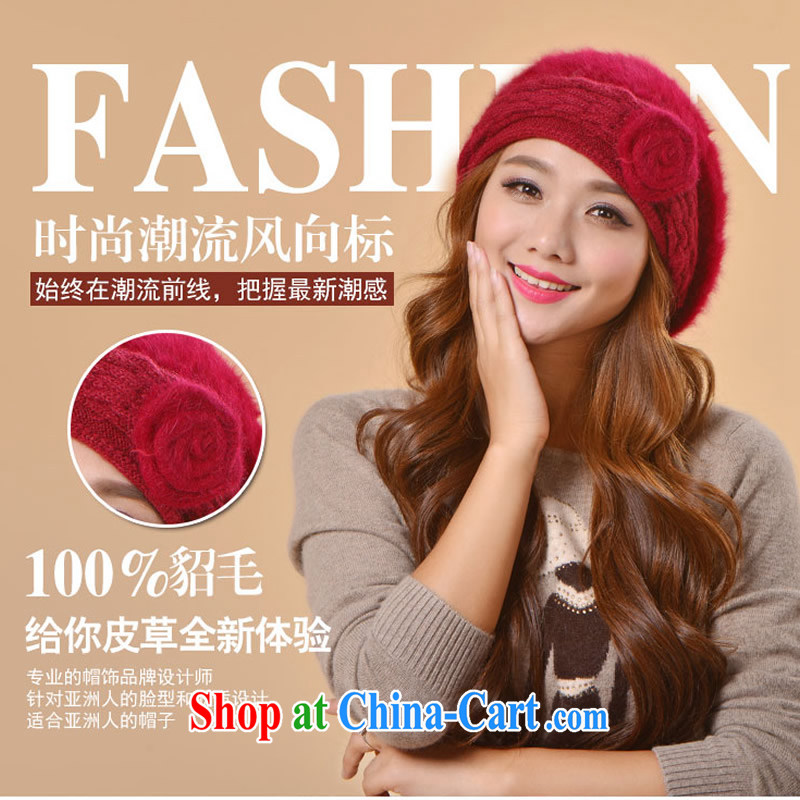 Euro, the new stingrays lint-free cloth, double capfall and winter fashion warm knitted blouses cap leisure 100 ground shopping mandatory pink are code