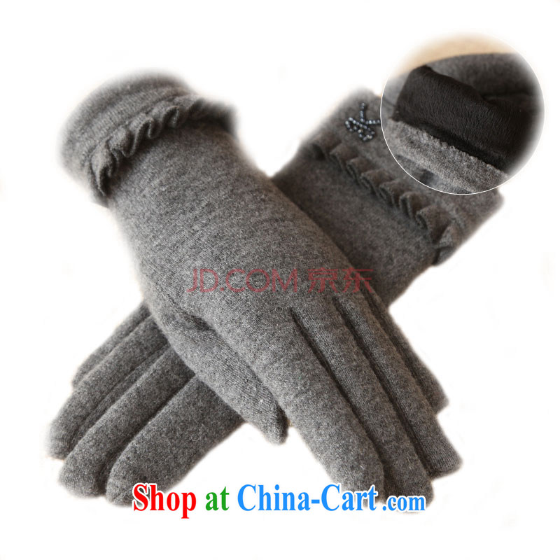 Autumn and Winter lace bowtie gloves video thin winter warm, touch screen wool gloves ST 148 unfinished songs - gray