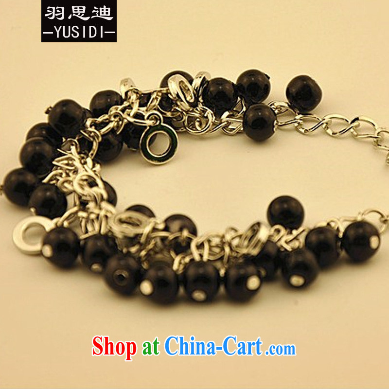 Yu Cisco's 2015 Korean fashion metal chain transfer Pearl color bead bracelets 613 black