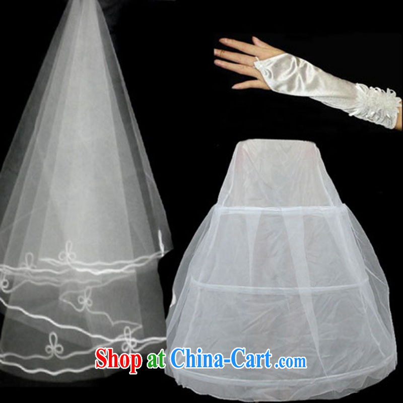 Marriages and legal 3-Piece 1.5 M lace lace wedding dresses and yarn gloves skirt stays 3 piece accessories