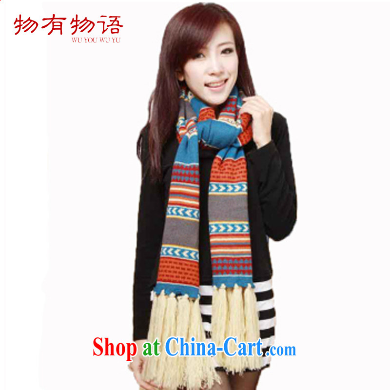 Property is property, Bohemia, Korean version warm knitting class Su scarf girl autumn and winter long spell color shawl with color pictures