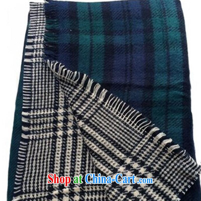 The Qaeda spring new thick knitting scarf shawl with two-sided tartan scarf girl Korean grid warm unisex oversized shawl dark green 85 _ 180