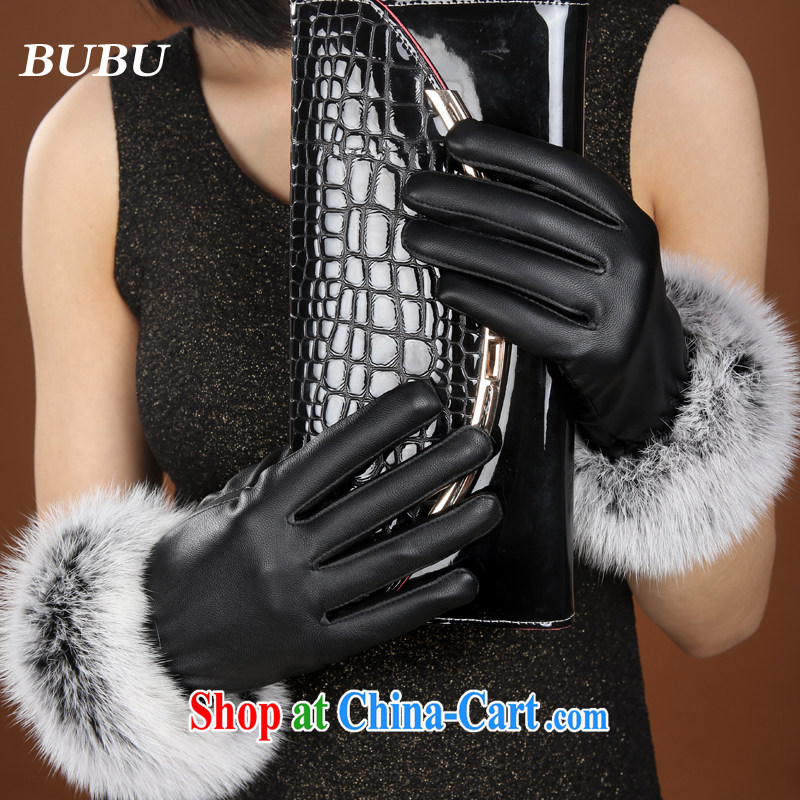 New autumn and winter Korean lovely stylish rabbit hair-Nagymaros port thicken the lint-free cloth touch screen PU leather warm, gloves black touch edition, BUBU, shopping on the Internet