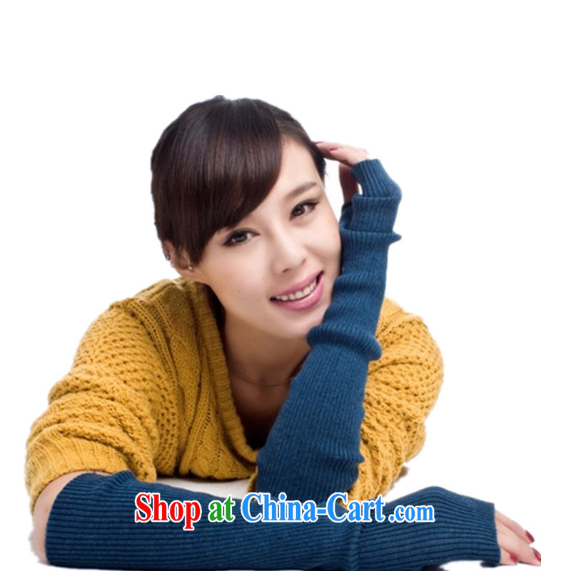 The bin Laden Air lint-free long knitted cashmere care arm half Palm mittens black stylish Korean gloves special algae Blue Green 40