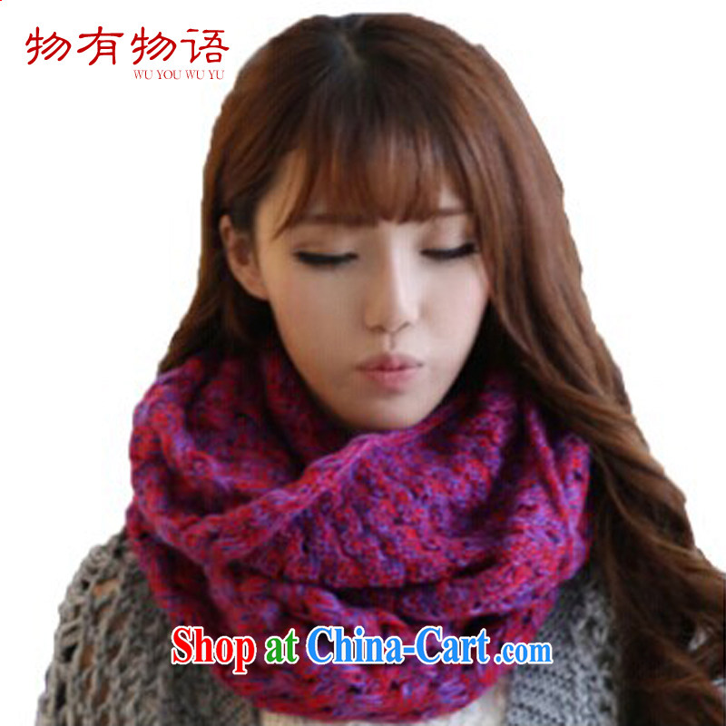 A property, Korean edition autumn 2015 winter knitting two-color blended 2 trap head men and women knitted scarf stylish thick warm scarf red purple