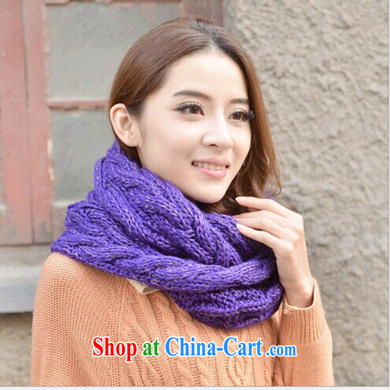The good 2014 autumn and winter, multi-colored thick knitting twist scarf scarf Korean warm winter scarf girl stylish scarves M - 049 deep purple