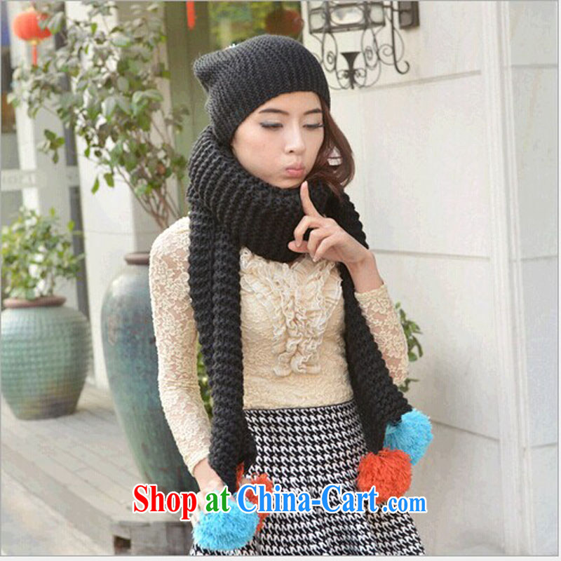 A good 2014 autumn and winter with Ms. ball ball Knit Hat scarf women knitting hat scarf two-piece M - 051 black