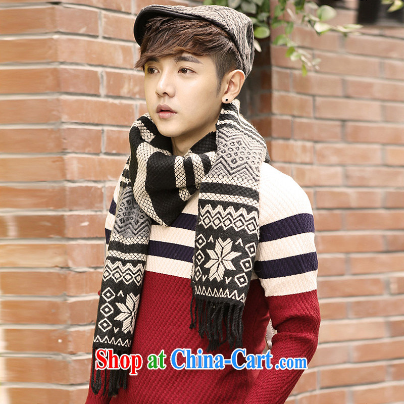 Susan Sarandon aviation jiaoshan 2014 winter clothing new Korean casual unisex couples, snow pattern spell color knitting scarf W 169 gray and black