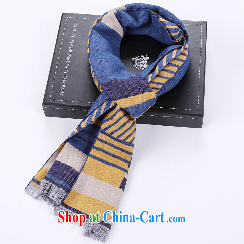 To New explosions, winter English stream, warm scarves men's blue and yellow