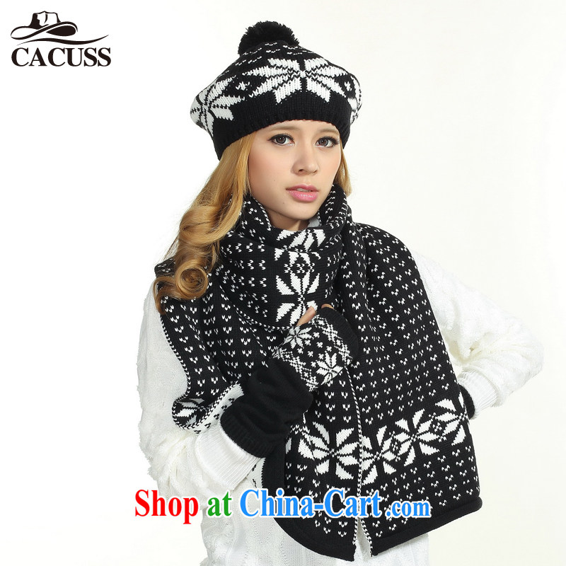 CACUSS new hat scarf gloves 3-Piece female warm winter mandatory Z 0098 black