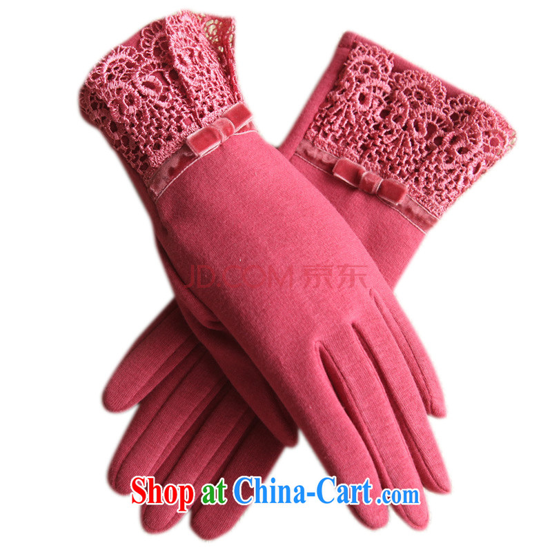 Antelope Good Morning winter new graphics thin plastic hand-lace gloves and lint-free cloth warm warm female touch cotton gloves 147 St James flower - ?? red
