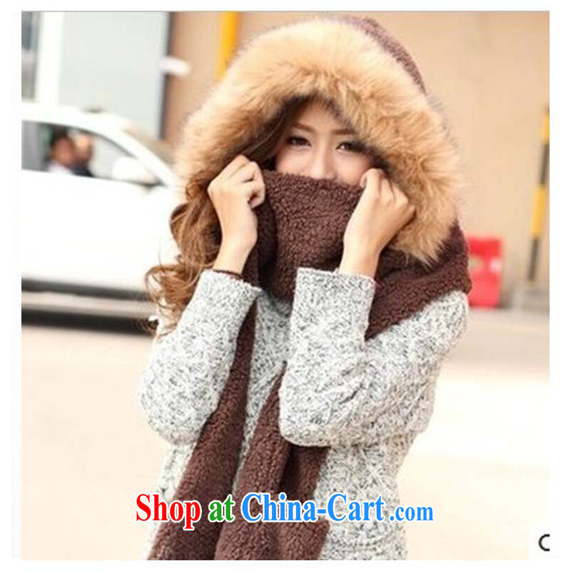 ahfenna Korean lovely double-pile thick warm 3-Piece autumn and winter girls scarf hat gloves in a deep coffee color