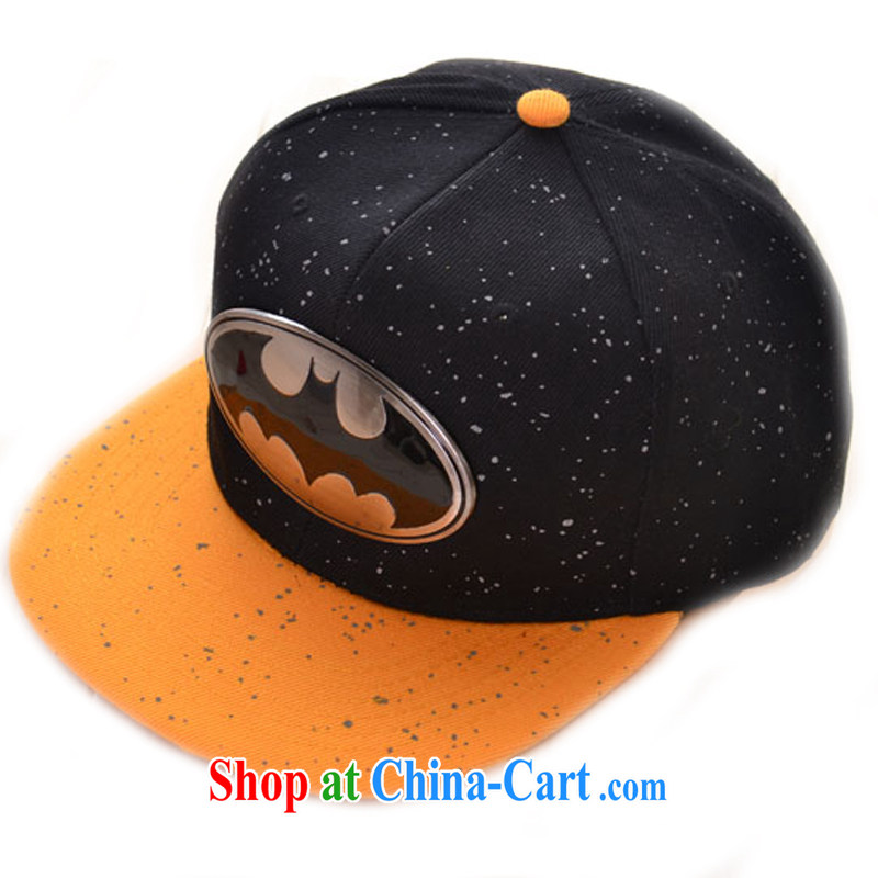 Hung-chun Korean fashion Superman steel flat edge cap Street Dance cap chute cap Batman hat men Batman Black + Yellow awnings