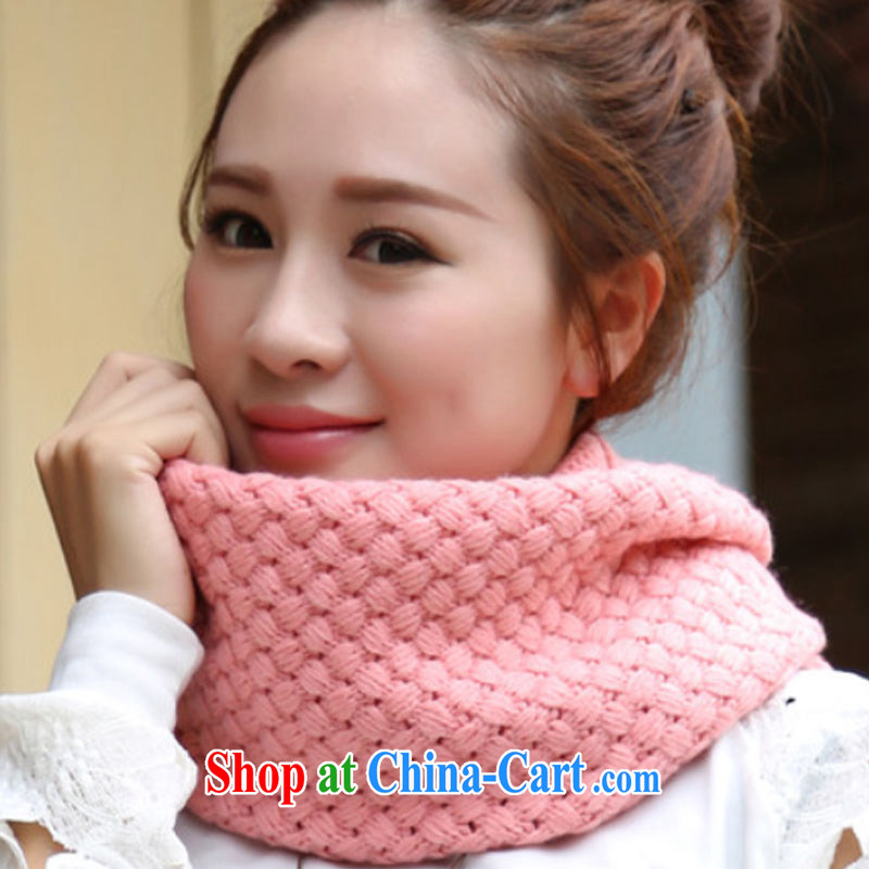 Korean version, winter can be 3 warm Knitted Scarf knitting cute girl knitting caps cap Solid Color waves female scarf stylish sweet girl shawl Sun Flower Solid Color - pink