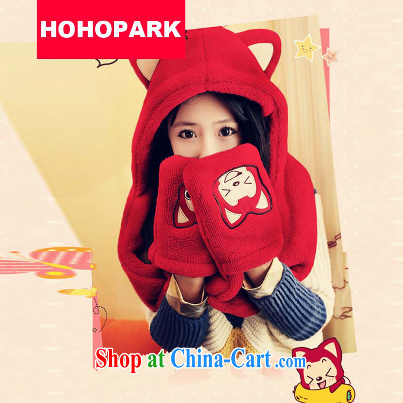 Support the men and women 2014 new Korean cartoon cute, civet handkerchief love had double thick hat scarf gloves all couples, 566 red