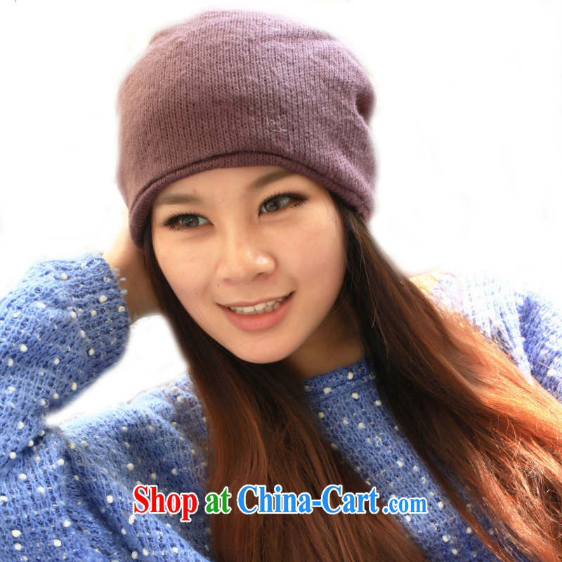 Hung-chun hat autumn and winter, simple and plain-color knitting Kit Head Cap 3 scarf hijab cap purple