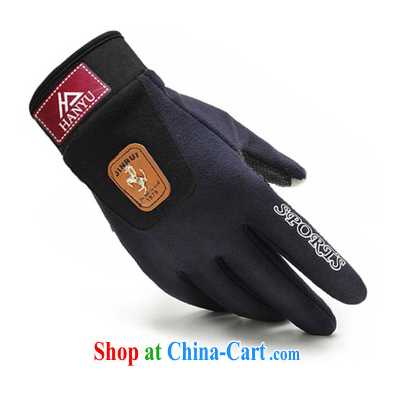 New Men's fleece lint-free touchscreen gloves winter autumn and warm riding non-slip, and lint-free bicycle hidden cyan