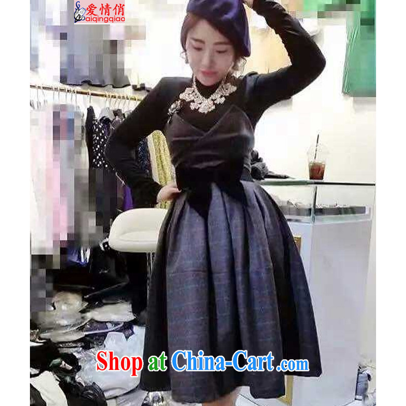 2014 winter-knitting solid checkered shirt body long skirt waist seal 3-piece kit skirt girls R 0158 picture color M