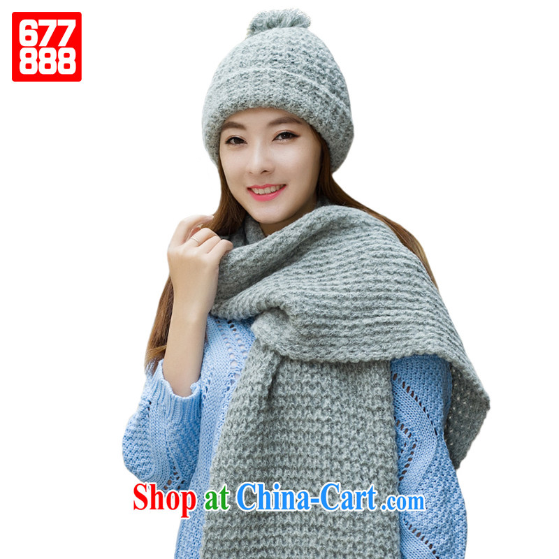 hat scarf set two-piece warm up thick wool yarn knitting Korean fashion Korean students cute Simple gifts winter new 677,888 gray
