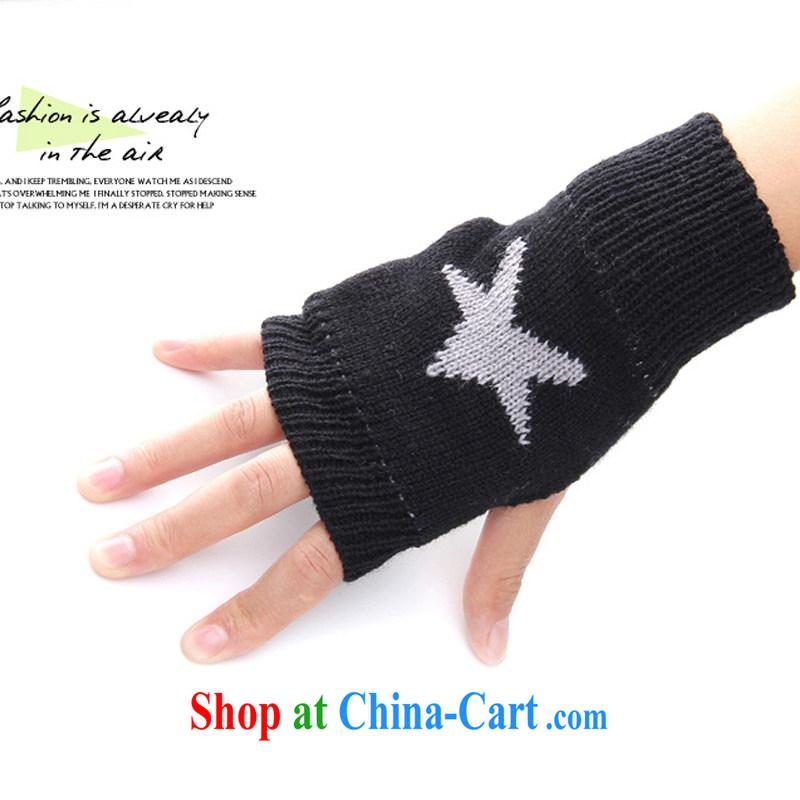 2014 hot selling knitting 5 star unisex knitted gloves half finger gloves mittens D 627 black 180 CM