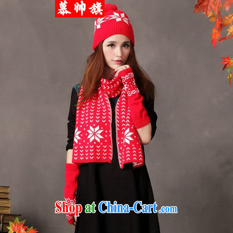 2015 National wind female warm scarf hat gloves 3-Piece red