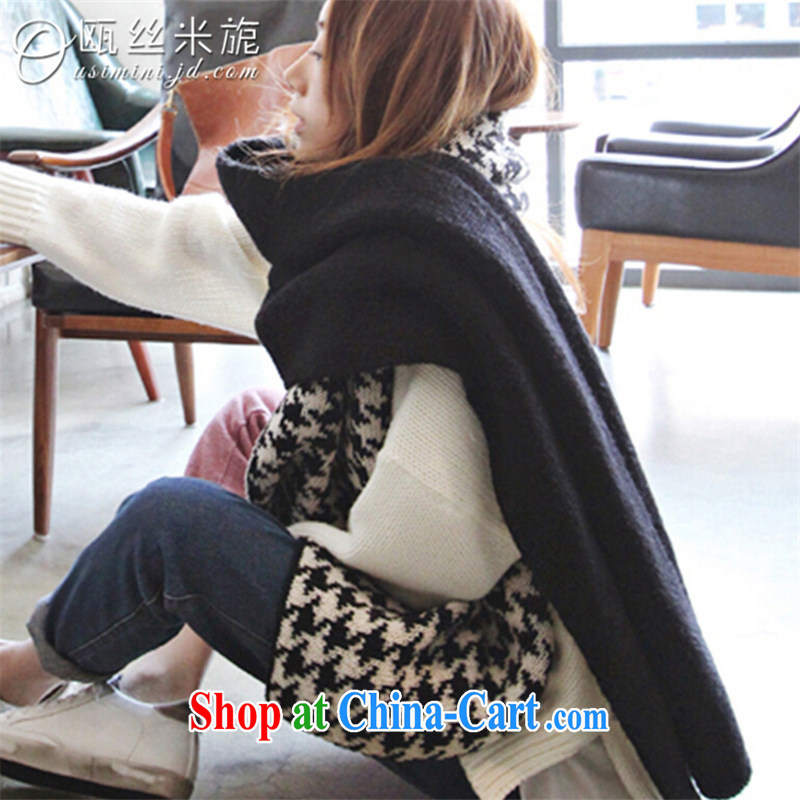 Declared population M session 2014 new women's clothing winter clothing Korean female 1000 birds, the black long Knitted Scarf black